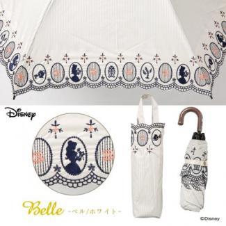【LINEDROPS】【Disney】晴雨兼用 刺繍日傘 折りたたみ 50cm ベル(白) [販売価格(税込):3,780 円]