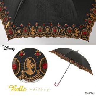 【LINEDROPS】【Disney】晴雨兼用 刺繍日傘 ショートスライド ベル(黒) [販売価格(税込):3,780 円]