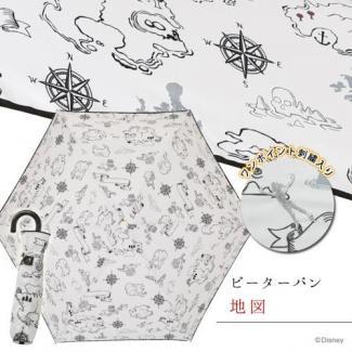 【Disney】キャラクターアンブレラ 折りたたみ ピーターパン/地図 [販売価格(税込):2,592 円]