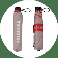 【innovator】超軽量極細 折りたたみ傘 雨晴兼用 50cm 男女兼用 グレー×レッド