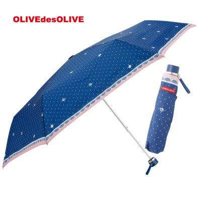 【OLIVE des OLIVE】 ガールズ 雨傘 折りたたみ 53cm ドットキャット(ネイビー)