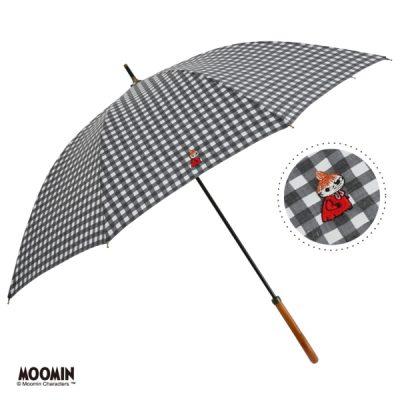 【LINEDROPS】【MOOMIN】晴雨兼用 ワンポイント刺繍日傘 50cm 長傘 リトルミイ/チェックBK