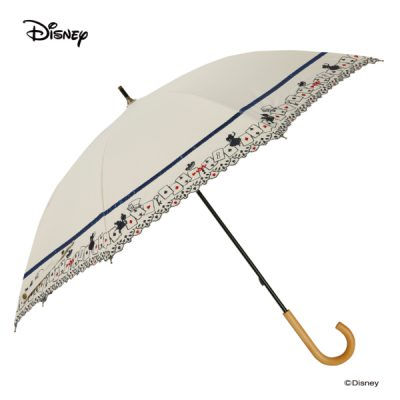 【LINEDROPS】【Disney】晴雨兼用 刺繍日傘 50cm 長傘 不思議の国のアリス(白)