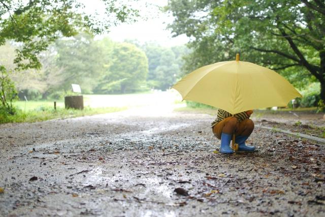雨の道でしゃがむ子ども