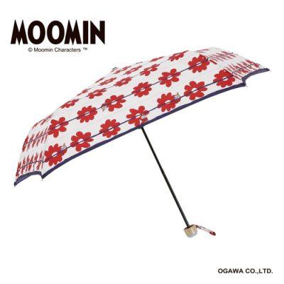 【MOOMIN】キャラクターアンブレラ 折りたたみ 55cm リトルミイ/花ボーダー