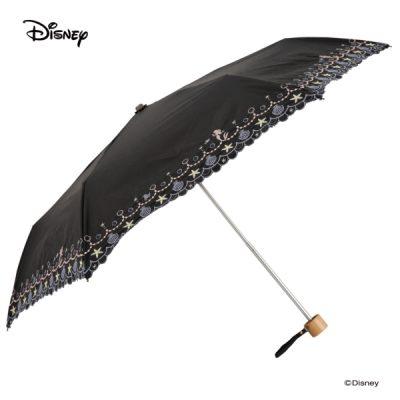 【One's Plus】【Disney】晴雨兼用 刺繍日傘 折りたたみ 50cm リトルマーメイド