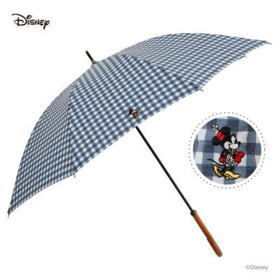 【One's Plus】【Disney】晴雨兼用 ワンポイント刺繍日傘 50cm 長傘 ミニーマウス/チェックNV