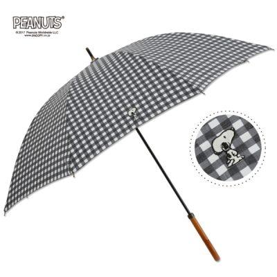 【One's Plus】【PEANUTS】晴雨兼用 ワンポイント刺繍日傘 50cm 長傘 スヌーピー/チェックBK
