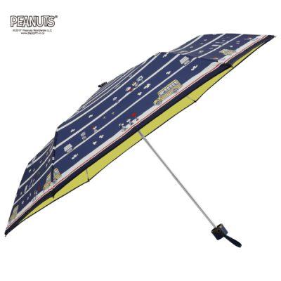 【PEANUTS】キャラクター 晴雨兼用日傘 折りたたみ 50cm スヌーピー/バスストップ