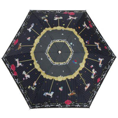 【LINEDROPS】キャンバスパラソル 折りたたみ日傘 50cm メリーゴーランド