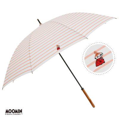 【One's Plus】【MOOMIN】晴雨兼用 ワンポイント刺繍日傘 50cm 長傘 リトルミイ/ボーダーPK