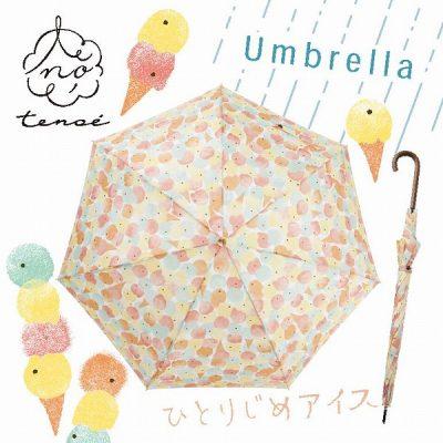 【tenoe(テノエ) CASUAL】レディース 雨晴兼用ジャンプ長傘 60cm ひとりじめアイス