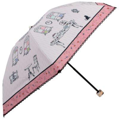 【LINEDROPS】キャンバスパラソル 折りたたみ日傘 50cm アンティークティータイム