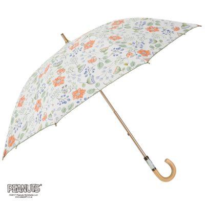 【LINEDROPS】【PEANUTS】キャンバスパラソル 日傘 50cm スヌーピー/スケッチフラワー