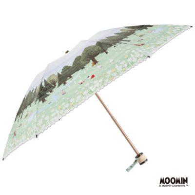 【LINEDROPS】【MOOMIN】キャンバスパラソル 折りたたみ 50cm ムーミン/花とのんびり