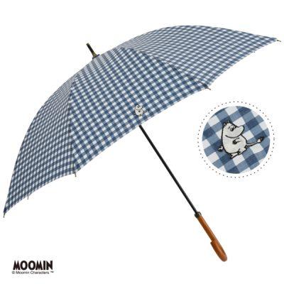 【One's Plus】【MOOMIN】晴雨兼用 ワンポイント刺繍日傘 50cm 長傘 ムーミン/チェックNV