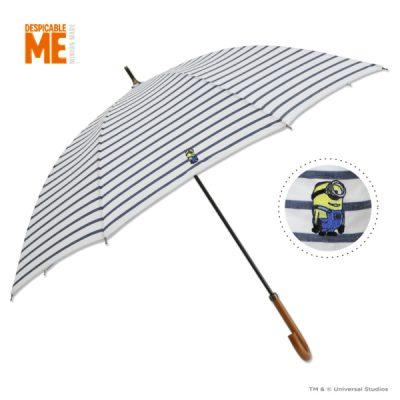 【One's Plus】【MINION】晴雨兼用 ワンポイント刺繍日傘 50cm 長傘 ミニオン/ボーダーNV