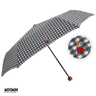【One's Plus】【MOOMIN】晴雨兼用 ワンポイント刺繍日傘 折りたたみ 50cm リトルミイ/チェックBK