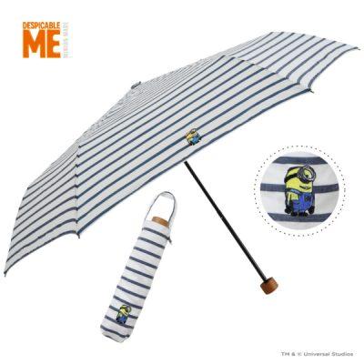 【One's Plus】【MINION】晴雨兼用 ワンポイント刺繍日傘 折りたたみ 50cm ミニオン/ボーダーNV