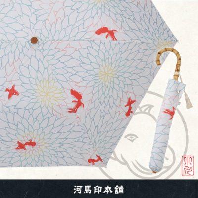 河馬印本舗の晴雨兼用2段ミニ折りたたみ日傘【金魚(金赤/きんあか)】
